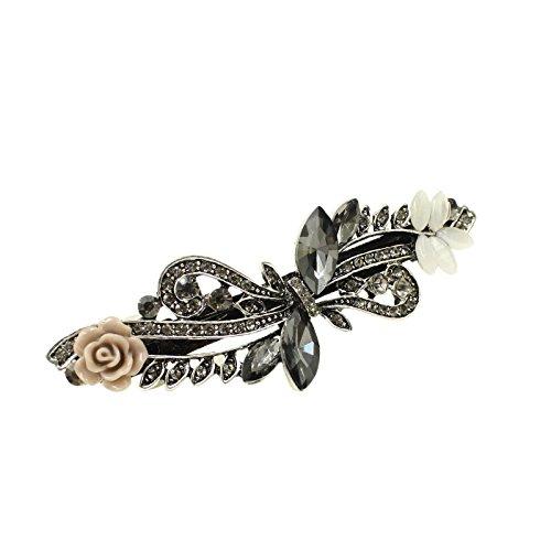(Luxury Crystal Clip Opal Leaf Resin Flower Headwear Jewelry Ol For Women Girls Elegant Barrettes Hair Accessories NO45 Gray Crystal)