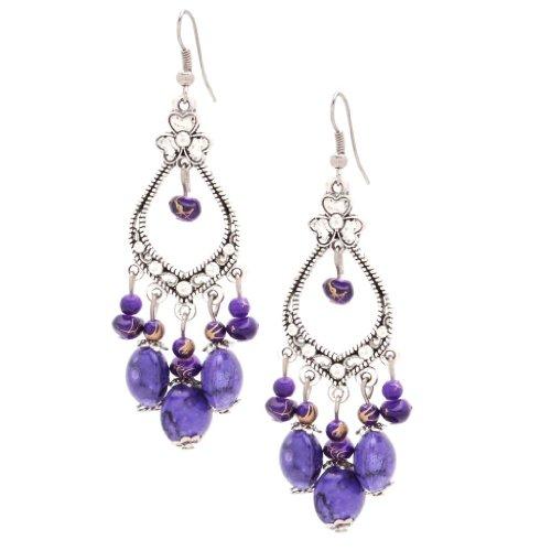 [Bleek2Sheek Clover Chandelier Earrings] (Purple Bead Earrings)
