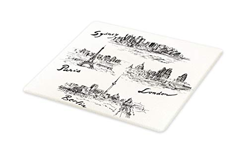 Berlin Design Christmas Plate - Ambesonne Travel Cutting Board, Silhouettes of Different Popular Cities in World Paris Sidney Berlin London Print, Decorative Tempered Glass Cutting and Serving Board, Large Size, Cream Black