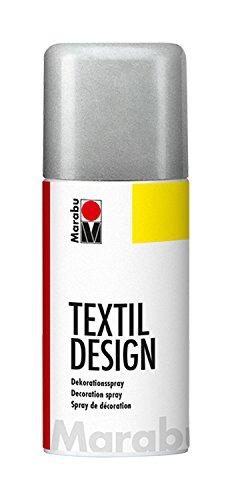 Marabu 150 ml Textile Fabric Spray Paint Can, Metallic Silver, 5.8 x 5.8 x...