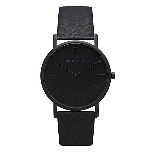 38mm Ultra Thin Slim Case Minimalist Fashion Watch for Men & Women by Byron Bond (Brompton - Black Case with Black Dial and Black Leather Strap)
