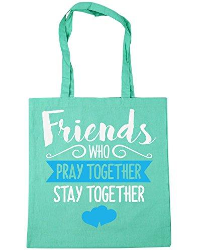 HippoWarehouse amigos que rezar juntos permanecer juntos Tote Compras Bolsa de playa 42cm x38cm, 10litros verde menta