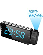 Projection Alarm Clock, SZMDLX Digital Radio Alarm Clock with LED Screen,adjustable Brightness,Projection with Temperature Display, Snooze Function, 12/24H, Dual Alarms and FM Radio for Bedroom Office