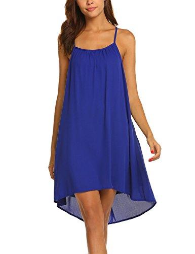 Vanilo Summer Halter Lace A-line Style Pleated Design Sleeveless Tunic Shift Dress Beach Wear