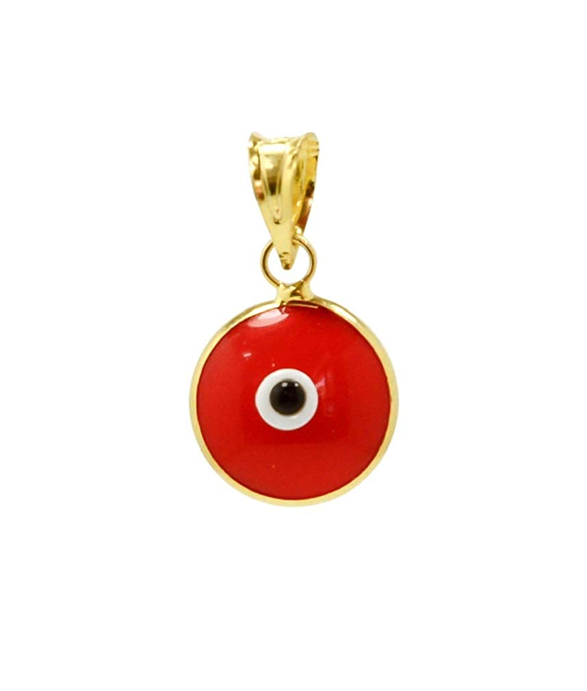 Gold Plated 925 Sterling Silver 10 MM Round Glass Evil Eye Charm Pendant - 9 Colours Available
