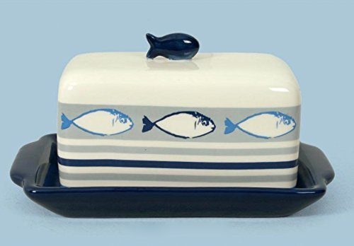 Blue Fish Dish - 000773 Blue Ceramic Butter Dish with Cover Features Three Fish