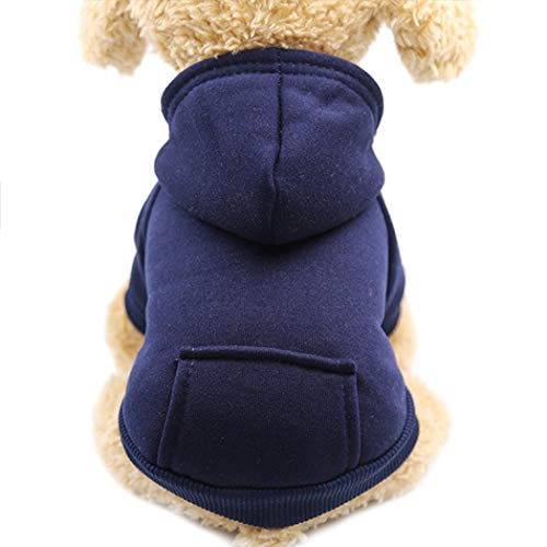 Idepet Dog Clothes Pet Dog Hoodies for Small Dogs Vest Chihuahua Clothes Warm Coat Jacket Autumn Puppy Outfits Cat Clothing Dogs Clothing (L, NavyBlue) - Hoodie Pet Dog Clothing