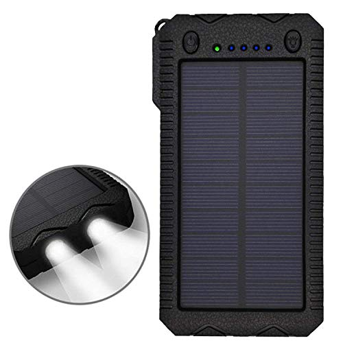 TRONOE Solar Charger,12000mAh Portable Charging Case External Backup Battery Pack Dual USB Solar Phone Charger with 2LED Light Carabiner for Your Smartphones and More - Panel Cover Cell
