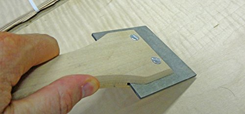 Wood veneer application scraper tool for paper and wood backed veneer ()
