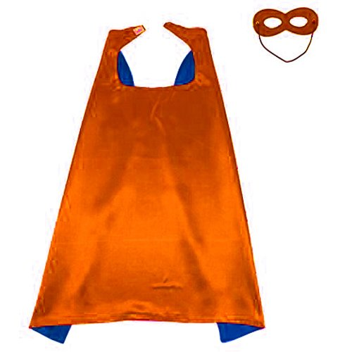 KOSTING Reversible Superhero Cape+Eye Mask Halloween Costume for Kids, Adult, Men, Women 55
