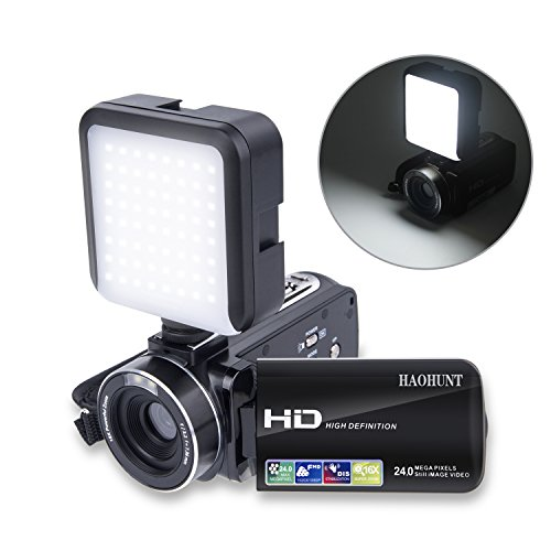 Camcorder Video Camera Digital Camera Recorder Vlogging Camera HAOHUNT HD 1080P 24.0MP 3.0 Inch LCD Rotation Screen 16X Digital Zoom Camera with 2 Batteries and Led Video Light(301S-PlusL) by HAOHUNT