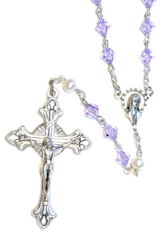 Catholic Prayer Rosary made with Alexandrite Violet and White Pearlized Swarovski Crystals (June)