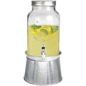 Estilo 1.5 gallon Glass Mason Jar Beverage Drink Dispenser With Ice Bucket Stand And Leak-Free Spigot, Clear