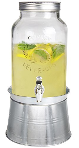 Glass Beverage Dispenser With Stand - Estilo 1.5 gallon Glass Mason Jar Beverage Drink Dispenser With Ice Bucket Stand And Leak-Free Spigot, Clear