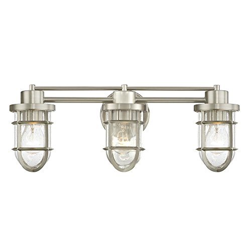 Seeded Glass Bathroom Light Satin Nickel Cage 3 -