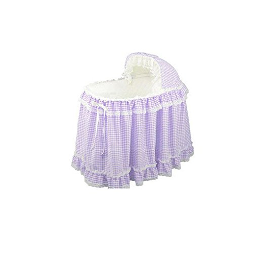 Babydoll Gingham Bassinet Liner/Bassinet Skirt and Hood, Lavender, 17