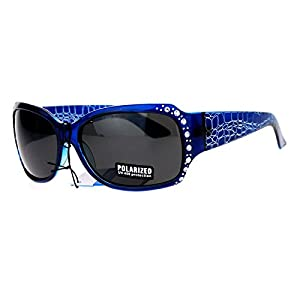 Anti Glare Polarized Womens Rhinestone Plastic Rectangular Butterfly Sunglasses Blue