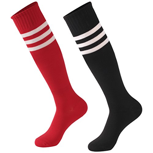 Calbom Women Men Youth Girls Athletic Colorful Knee High Fashion Soccer Socks Assorted Tube Socks Pack of 2 Black/Red One Size 10-13 XL