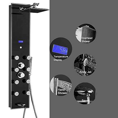 CRACCO SPA Tempered Glass Aluminum Thermostatic Shower Panel Rain Style Massage System, Black