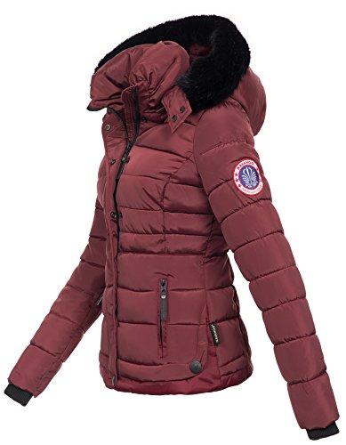 Navahoo warme Damen Winter Jacke Parka Mantel Stepp Kurzjacke gefüttert B301 Bordeaux WThjO