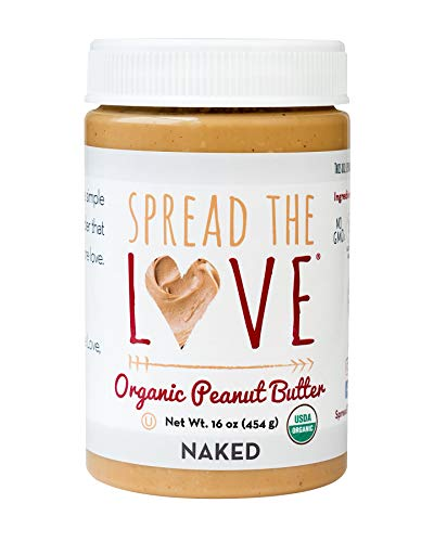 Spread The Love NAKED Organic Peanut Butter 16 Ounce Organic All Natural Vegan Glutenfree Creamy DryRoasted No added salt No added sugar No palm oil