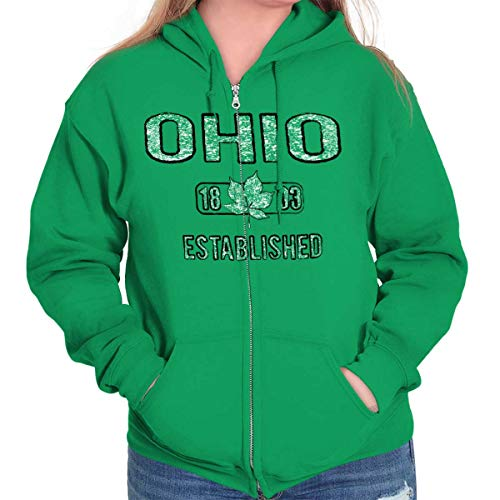 Ohio Buckeye Leaf Vintage Workout Americana Zip Hoodie Irish Green