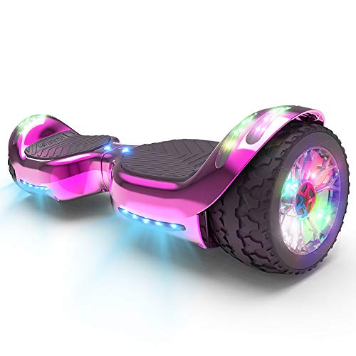 HOVERSTAR HS 2.0v Hoverboard All-Terrain Two Wide Wheels Design Self Balancing Flash Wheels Electric Scooter with Wireless Bluetooth Speaker and More LED Lights (Chrome Pink)