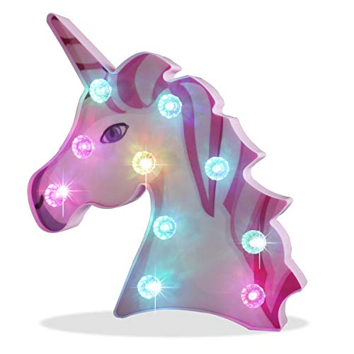 Pooqla Newest Painted Rainbow Unicorn Head Color Changing Marquee Sign Unicorn Girl Night Light with Diamond Light Bulb, Birthday Party Supply Gifts - Big Eye Unicorn Head Colorful Glow