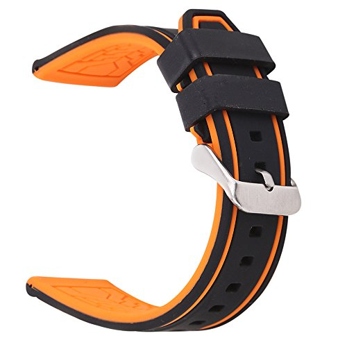 EACHE Silicone Watch Strap Rubber Replacement Diver Sport Waterproof Watch Band Black Orange Silver Buckle 20mm by EACHE