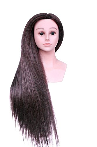 TOPBeauty Black Mixed Hair Hairdressing Practice Training Head Doll Mannequin With Shoulder