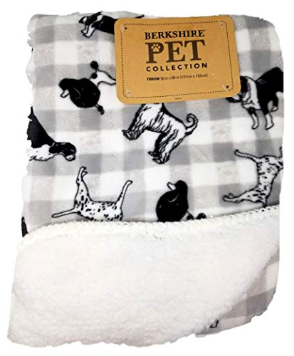 Berkshire Blankets Pet Collection Gray Plaid Dogs Plush Throw Blanket - 50 x 60 - Featuring Dalmatian, Poodle, Basset Hound, Cocker Spaniel, Greyhound, Bulldog, Afghan, and More!