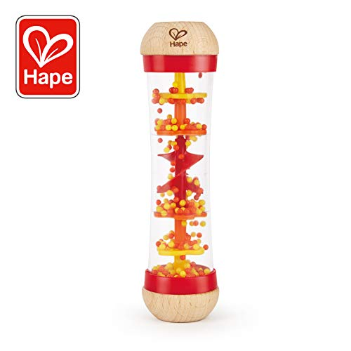 Hape Beaded Raindrops | Mini Wooden Musical Toddler Instrument, Shake & Rattle Rainmaker Toy, Red