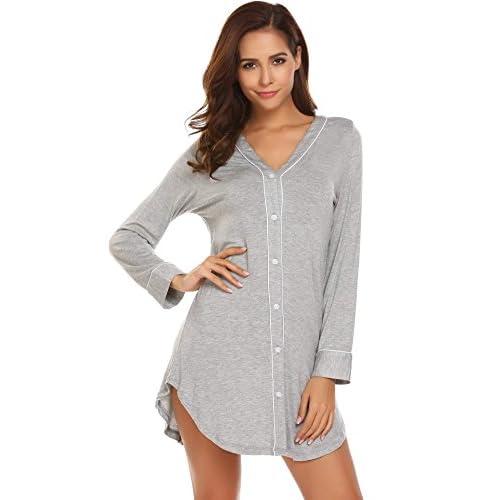 Discount Ekouaer Sleep Shirt Dress Womens Pajama Button Down Contrast Color V-Neck Sleepwear (S-XL)