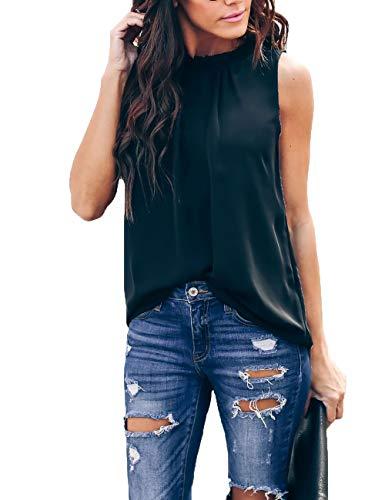 - Pop lover Women Summer Chiffon Blouses Sleeveless Shirt O Neck Pleated Tank Halter Tops (Black, L)