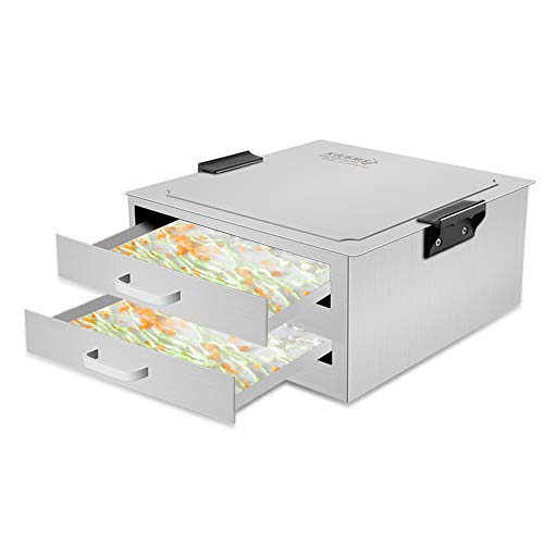 FERRISA Cantonese Rice Noodle Rolls Machine,430 Stainless Steel Steamed Vermicelli Roll Steamer Machine,2 Grid Drawer Pull Layer, Rice Milk Furnace Cooking Chinese Cuisine Guangdong Recipes Cookware