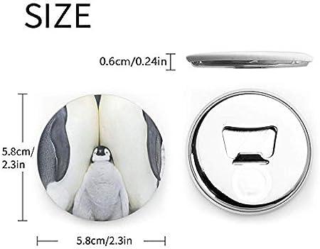 Abrebotellas redondos de la familia de los pingüinos lindos / imanes de nevera sacacorchos de acero inoxidable pegatina magnética 2 piezas