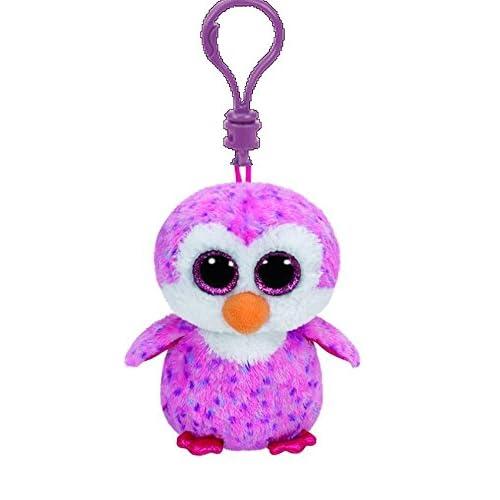 Carl ETTO TY 36641–Glider Clip, yeux Pingouin avec paillettes, Glubschi S, Beanie Boo S, 8,5cm, rose