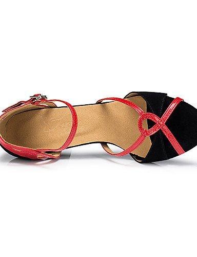 ShangYi Chaussures de danse ( Autre ) - Non Personnalisables - Talon Bobine - Flocage - Latine , red-us8.5 / eu39 / uk6.5 / cn40 , red-us8.5 / eu39 / uk6.5 / cn40