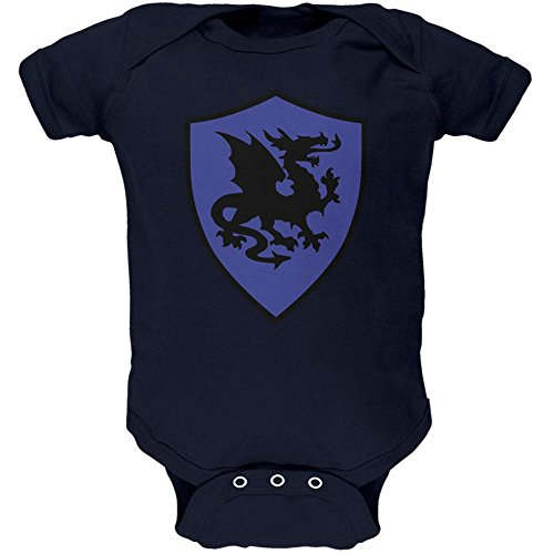 Old Navy Dragon Costume (Halloween Knight Shield Costume Dragon Soft Baby One Piece Navy 9-12 M)