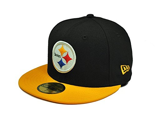 NFL Pittsburgh Steelers Black and Team Color 59Fifty Fitted Cap, Black/Gold, 7 - 59fifty Yellow Hat Fitted