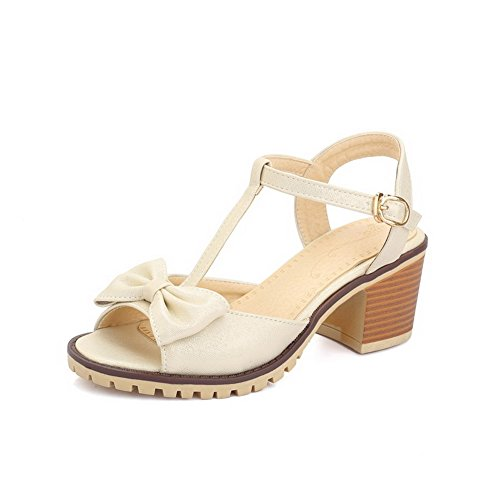Womens Open Toe Wedge PU Korean Sandals Espadrille Apricot - 1