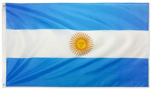 DANF Argentina Flag 3x5 Foot Polyester Argentinian National Flags Polyester with Brass Grommets 3 X 5 Ft