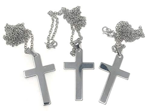 Bulk 12 Stainless Steel Polished Cross Necklaces with