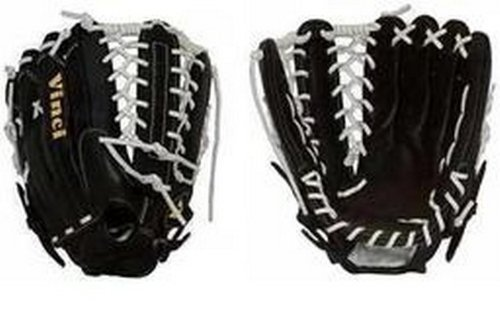 Vinci Softball Gloves - VINCI 22 Series PJV6000-22 Softball Infield Glove/Baseball Outfield with White Lace and Six Finger Web (13.5-Inch) (Left-Handed Throw)