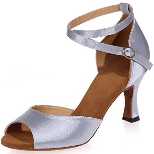 Noche Peep Sandalias alto Nupcial Zapatos para mujer de SZXF8349 Sarahbridal de Toe Plata tacón Satén Tamaño baile Boda PxAq5FvwEX