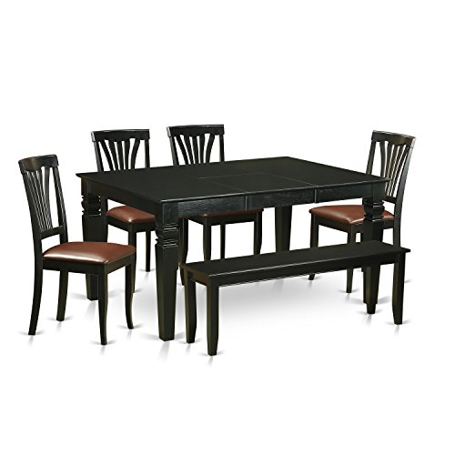 East West Furniture WEAV6D-BLK-LC 6 Piece Kitchen Table and 4 Dinette Chairs Coupled with A Bench Set