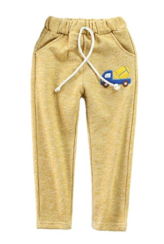 Girl Slash Costume (Little Boys & Girls Slim Fit French Terry Pants with Pattern 4 Colors (6, Yellow))