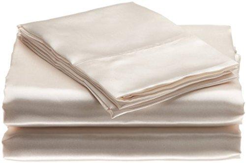 Bedding Emporium 100% Pure Silk Satin Sheet Set 7pcs, Silk Fitted Sheet 15'' Deep Pocket,Silk Flat Sheet,Silk Duvet Cover & Pillowcases Set !!! King, Ivory