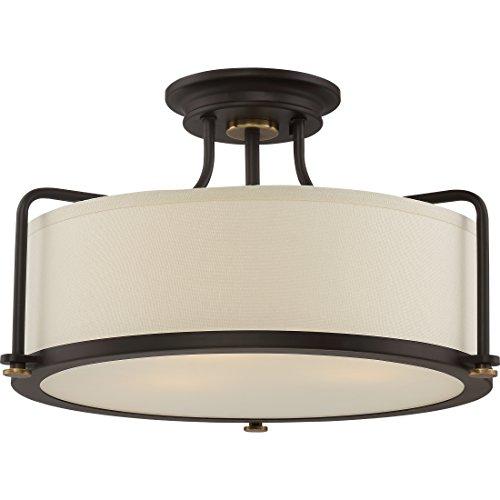 Quoizel QF1715WT Calvary Semi-Flush Ceiling Lighting, 3-Light, 300 Watts, Western Bronze (11