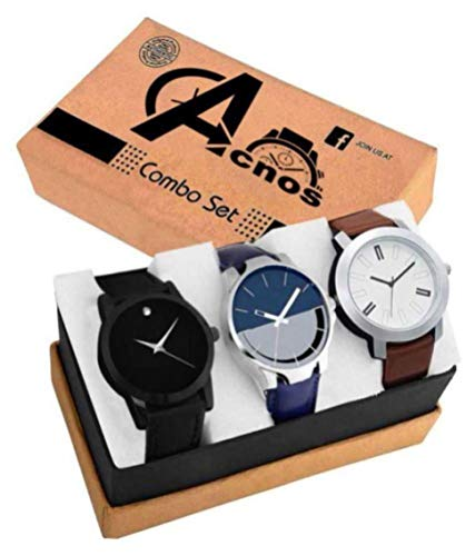 Acnos Stylist Analog Watch Combo Set for Men Pack of – 3 (433-21-24)